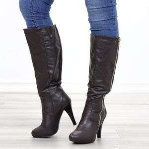Brown Heeled Knee High Boots Faux Leather